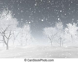 3d, neve paisagem, inverno