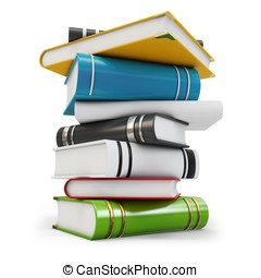 3d new pile of books on white background