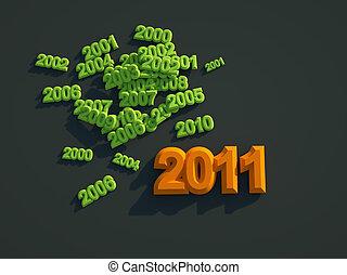 3d new year 2011 green shape