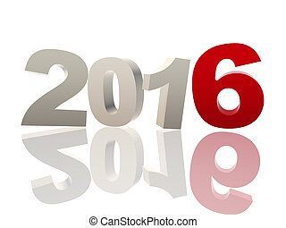 3d new year 2016 in red and grey figures - new year 2016 of...