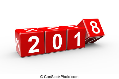 3d new year 2018 cubes changing - 3d rendering of year 20176...