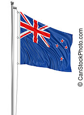 3D New Zealand flag with fabric surface texture. White...