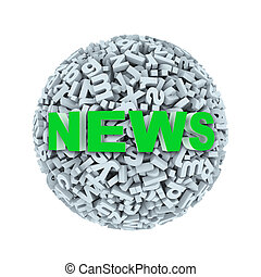 3d news - alphabet letter character sphere ball