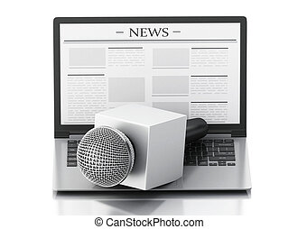 3d News microphone and laptop with news article. - 3d...
