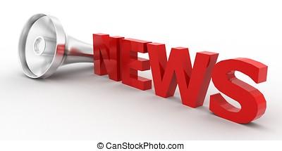 3d news text / megaphone near by concept