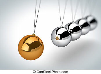 3d Newton's cradle with one golden ball