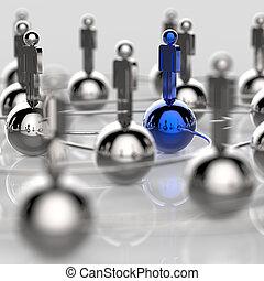 3d, niesplamiony, ludzki, towarzyski, sieć, i, przewodnictwo