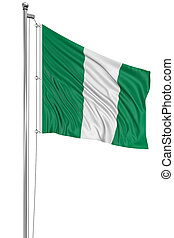 3D Nigerian flag with fabric surface texture. White...
