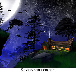 3d, night, house timber, under the moonlight, with the bats in the forest