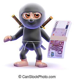 3d Ninja assassin holds Euro bank notes