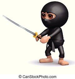 3d Ninja in fighting pose