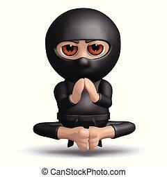 3d Ninja meditates