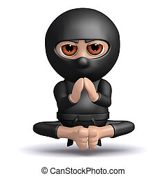 3d Ninja meditates - 3d render of a ninja meditating