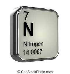 3d render of the nitrogen element from the periodic table