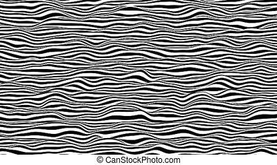 3d, noir, lignes, engendré, blanc, mouvement, informatique, boucle, arrière-plan., animation., rendering., horizontal