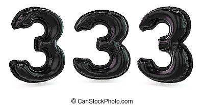 3d, noir, nombre, 3., arrière-plan., balloon, signe., numérique, gonflable