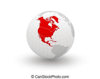 3d., norte, globe., america.