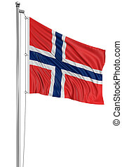 3D Norwegian flag with fabric surface texture. White...