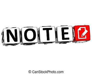 3D Note Button Click Here Block Text