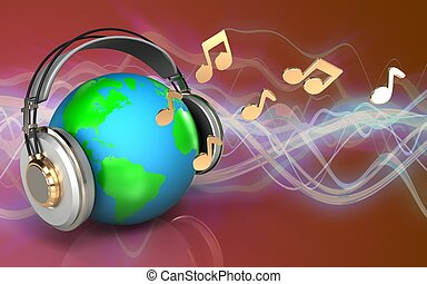 3d notes notes - 3d illustration of earth in headphones over...