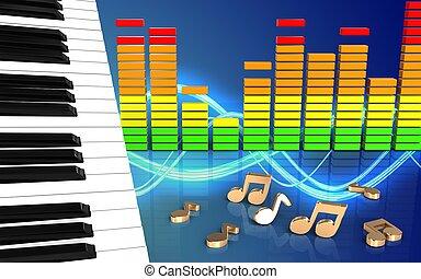 3d notes piano keys