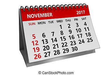 3d november 2017 calendar - 3d illustration of november 2017...