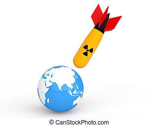 3d nuclear bomb hitting earth globe