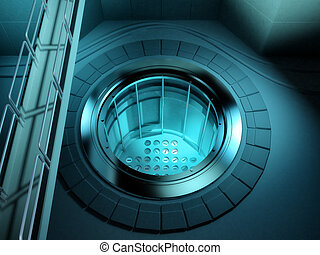 3d Nuclear reactor core with bridge - 3d render of a nuclear...