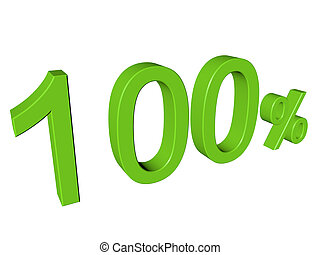 3d number 100 percent on white isolated background
