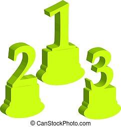 3D number 1,2,3, award on white background