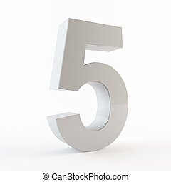 3D number 5 - 3D rendering of number 5 on a white background