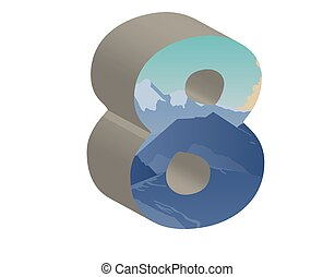 3D number eight. Vector illustration of 3D font