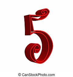 3D number five 5