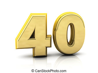3d number forty gold on white background