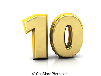 3d number ten in gold on white background