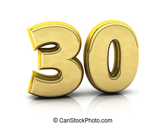 3d number thirty in gold on white background