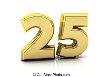 3d number twenty five in gold on white background