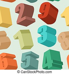 3d numbers seamless  pattern. Vector background