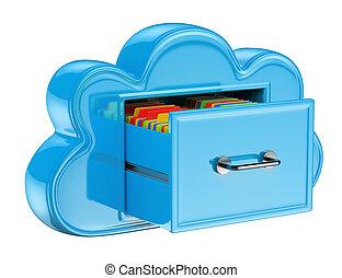 3d, nuvem, armazenamento, serviços, conceito