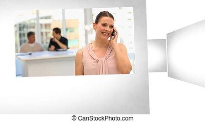 3d ożywienie, na, handlowy, communicat
