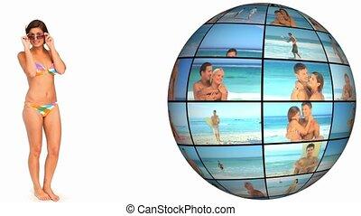 3d ożywienie, na, plażowe wakacje