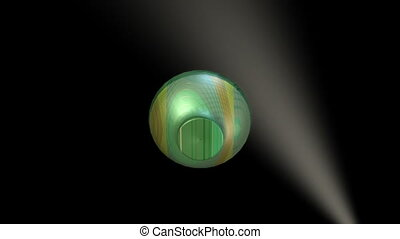 3d object artistically decorated glass with golden and green texture rotating on black background with blurry lightning