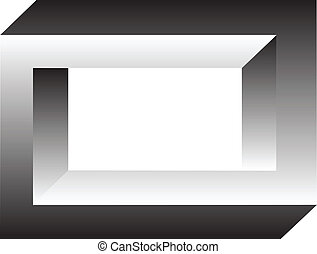 optic illusion - 3d object as optic illusion on the white ...