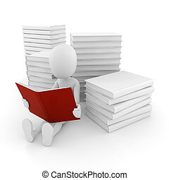 3d, obsadzać czytanie, niejaki, książka, na białym, tło