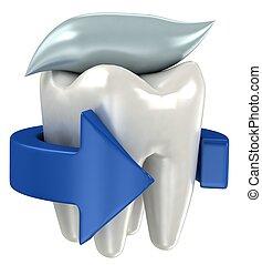 3d, odizolowany, zęby