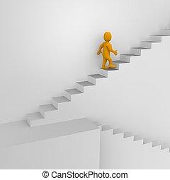 3d, odpłacił, illustration., człowiek, schodki.