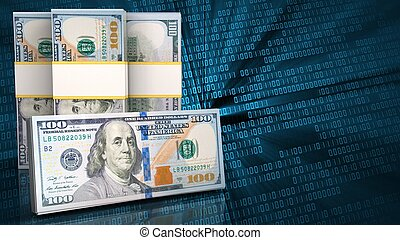 3d of dollar banknotes