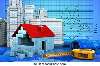 3d of house blocks construction
