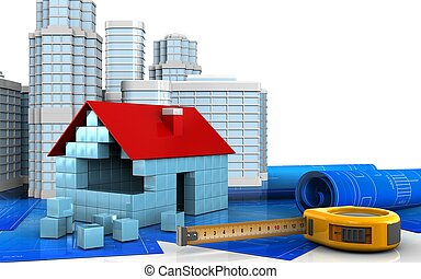 3d of house blocks construction