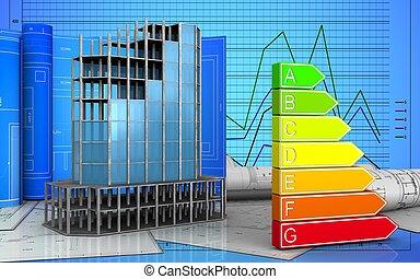 3d of modern building frame